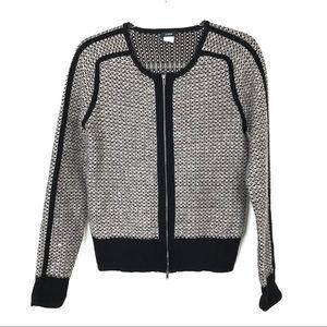 J. Crew   Black & Tan Sweater Zip Jacket